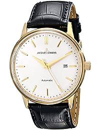 Jacques Lemans Unisex-Armbanduhr Nostalgie Analog Automatik Leder N-206B