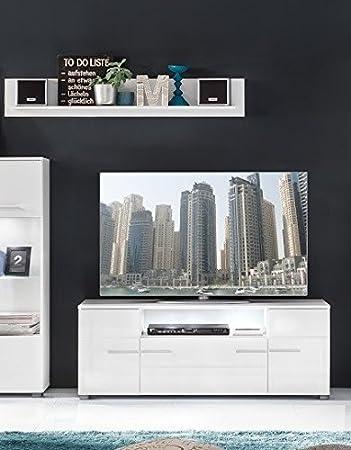 Wohnzimmerschrank Wohnzimmer B H T Ca 131 X 52 45 Cm In Weiss Hochglanz Ausfhrungohne Glas TV Bhne Amazonde Kche Haushalt