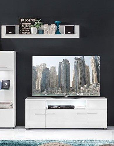 Dreams4Home Wohnkombination 'Leona E', TV-Lowboard, TV-Schrank, Wandboard, Fernsehschrank, Wandregal, Kombination, Wohnzimmerschrank, Wohnzimmer, (B/H/T) ca. 131 x 52 x 45 cm, in weiß Hochglanz / weiß , Ausführung:mit Glas-TV-Bühne