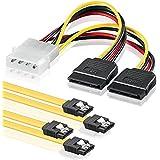 SET - 2x deleyCON 0,5m S-ATA 3 Kabel + 4pin zu 2x SATA Stromadapter - HDD / SSD Datenkabel mit Clip - 1x Stecker gerade zu 1x Stecker gerade - Gelb