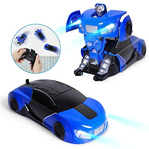 SGILE RC Transformator Roboter Auto, Ferngesteuert Transformers Auto & Robot verwandelbar, RC Wand Climber Auto mit LED und 360° Rotation, Stunt Auto RC Spielzeugauto für Kinder Kindergeschenk Blau