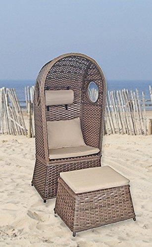 "VARILANDO Strandkorb ""Lindos"" als 1-Sitzer aus Aluminium und Kunststoffgeflecht Single-Strandkorb"