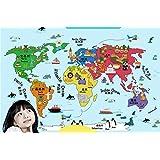 Ecloud Shop® La habitación de la pared Etiqueta de la historieta Sala infantil decorativo Mapa del Mundo
