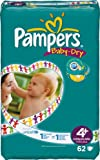 Pampers Baby-Dry Size 4+ (20-44 lbs/9-20 kg) Nappies - 2 x Packs of 62 (124 Nappies)