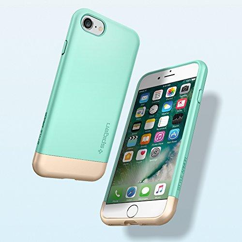 iPhone 7 Hülle, Spigen® [Style Armor] Soft Innenkratz-Schutz [Schwarz] Design-Element in Gold- Metallic-Look / 2-teiliges Premium Case Schutzhülle für iPhone 7 Case, iPhone 7 Cover - Black (042CS20516 STA Mint Grün