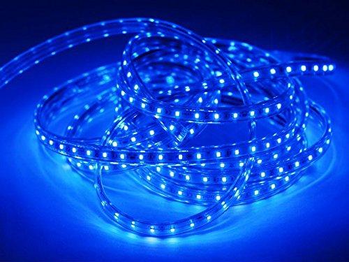 Wasserdicht 230V IP65 SMD 2835 LED Streifen LED-Strip LED Band Streifen LED Strip-Licht Superhell (60 LEDs/Meter) (10m mit 600leds) [Energieklasse A+] (blau) -