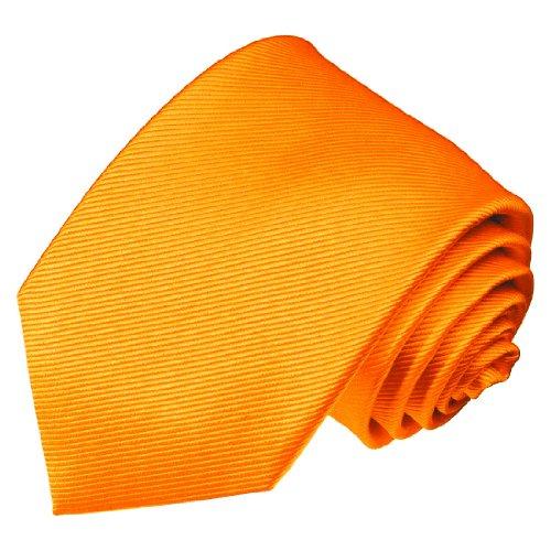 LORENZO CANA - Marken Krawatte aus 100% Seide - Orange feine Streifen Einfarbig Uni Ripsstreifen - 84246