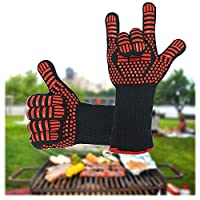 YJZQ Heavy Duty Insulated Oven Gloves Extreme Heat Resistant Silica Gel Cooking Mittens BBQ Grilling Baking Welding Barbecue Potholder Fireplaces Gloves Kitchen/Outdoor Hand Protection Gloves