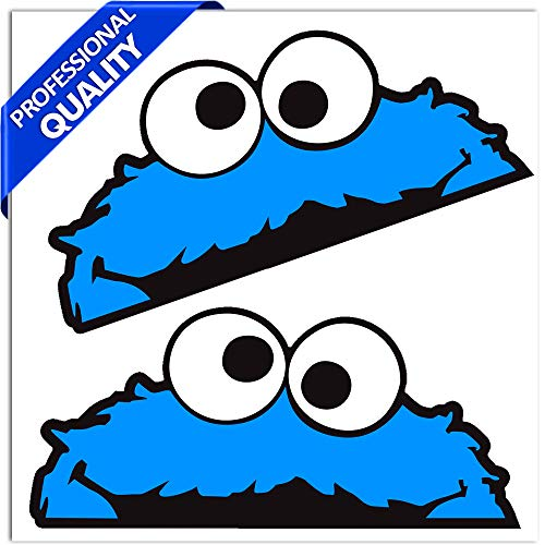 Skino 2 STÜCK Vinyl Aufkleber Stickers AUTOAUFKLEBER SESAMSTRAßE KRÜMELMONSTER ELMO Cookie Monster LUSTIG Zeichen FÜR Fenster Auto Motorrad Fahrrad Tuning B 99