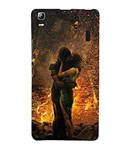 For Lenovo A7000 :: Lenovo A7000 Plus :: Lenovo K3 Note couple kiss, kiss, couple, fire Designer Printed High Quality Smooth Matte Protective Mobile Case Back Pouch Cover by APEX