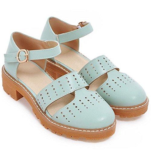 COOLCEPT Femmes Mode Sangle de Cheville Court Shoes Bout Ferme Escarpins Bloc Talon bas Chaussures Bleu