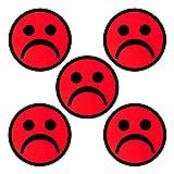 5 Smiley Magnete Rot Durchmesser 5 cm für Magnettafeln, Kühlschränke, Plantafeln und Whiteboards. Emoji Smiley Magnet Sad (Rot, 5 cm)