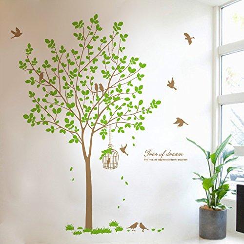 Warm Cherry-tv (yanqiao 180,1x 166,9cm groß, grün Baum und Fliegende Vögel auf den Zweigen Wandsticker Aufkleber für Wohnzimmer Küche Home Art Wand Dekoration 8338)