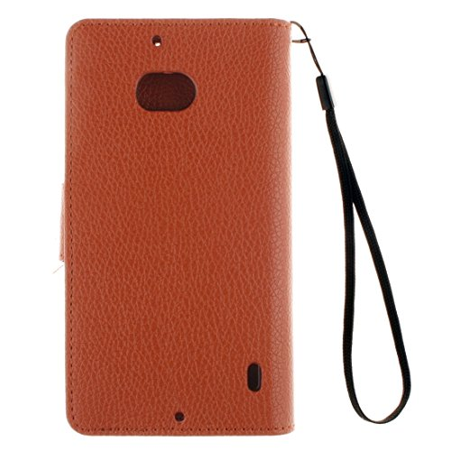 Für Nokia Lumia 930 Litchi Textur Horizontale Flip Leder Ständer Brieftasche Case Cover mit Halter & Card Slots & Wallet & Photo Frame & Lanyard by diebelleu ( Color : Magenta ) Brown