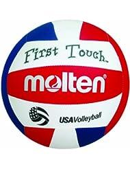 Molten-Ballon de Volleyball First Touch (Rouge/Blanc/Bleu/10 et sous 5 ml)