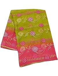 7ddc7ac2aee6 Designer Vintage Étole Vert Traditionnel Dupatta Floral Broderie Conception  Femmes Indien Écharpe Georgette Mélange ...