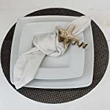MACOSA 3er Set edle Stoffservietten   versch. Farben   45x45 cm   100% Baumwolle   Tischwäsche Tisch-Dekoration Mundservietten Textil (Weinrot) - 7