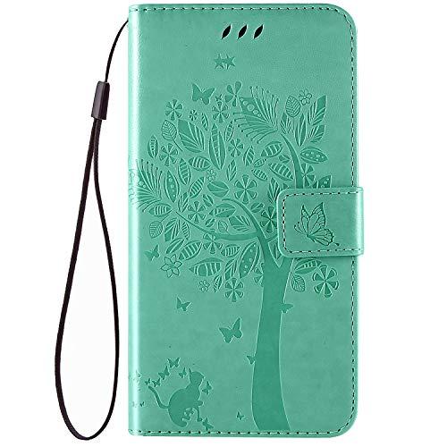 QPOLLY Kompatibel für Nokia X71 Hülle Leder Tasche Flip Case Katze und Baum Muster Handytasche Magnet Schutzhülle im Brieftasche-Stil mit Kartenfächer Standfunktion,Grün