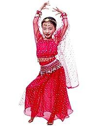 Astage Niñas Manga Larga De Danza Ropa Faldas Disfraz De Elegent Conjuntos Hot Pink L