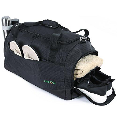 Lifewit Sporttasche für Männer Frauen Mit Schuhfach Groß Reisetasche Wasserdicht Leicht Wochenende Kinder Junge Gym Bag Schwarz