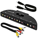 Fosmon 4-Wege Audio / Video RCA Switch Hub mit 4 Input-Anschlüssen Selector / Splitter Box / Umschalter Adapter & AV Patch Kabel für Microsoft XBOX 360, playstation PS3, Gamecube, Wii, DVD, VCR