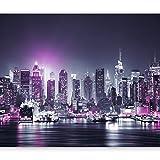murando - Papier peint intissé 350x256 cm - Papier peint - Trompe l oeil - Tableaux muraux déco XXL - New York City ville NY Manhattan nuit Panorama highrise gratte-ciel d-C-0012-a-d