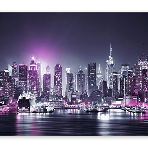 murando - Papier peint intissé 400x280 cm - Papier peint - Tableaux muraux déco XXL - New York City ville NY Manhattan nuit Panorama highrise gratte-ciel d-C-0012-a-d