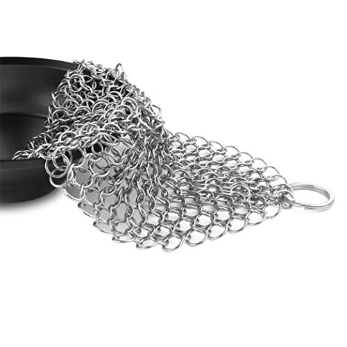 Sunyoyo Cast Iron Chainmail Cleaner Brush Stainless Steel Suitable for Cast Iron Pan Cast Cleaning Seasoned Cookware all Surfaces (15*15CM)