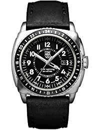 Luminox P-38 LIGHTNING™ GMT Men's Quartz watch with Black dial featuring LLT Luminox light Technology 44 millimeters Stainless Steel case and Black Leather Strap  XA.9421