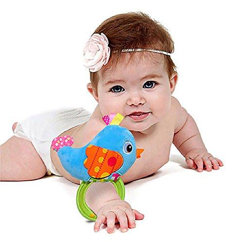 VANKER 4 estilo encantadores sonajeros de madera de animal felpa de juguete para bebé -- pájaro