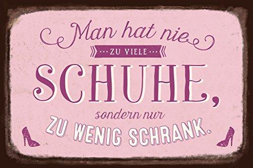 Grafik-Werkstatt 60567 Wand-Schild   Vintage-Art   Man Hat Nie zu viele Schuhe   Retro   Nostalgic  Blechschild   Deko Blechschild - Wandschild, Metall, Uni, 30 x 20 cm