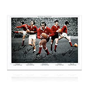 Pays de Galles Rugby photographie signée par Gareth Edwards, JPR Williams, Phil Bennett, John Barry et John Dawes
