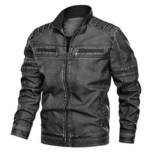 DNOQN Männer Jacke Winter Pullover Herren Jacken Online Jeansjacke Große Größe Solide Beiläufig Washed Lederjacke mit Stehkragen Dunkelgrau XXXXXXL