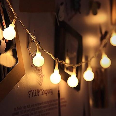 Gledto 4m LED Guirlande lumineuse à Piles Petits Boules Blanc