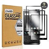 Owbb [3 Pièces] Film Protecteur D'écran en Verre Trempé pour Blackberry Keyone Noir Couverture Complète Protection 99% Haute Transparent Anti-déflagrant