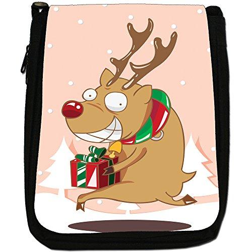 Renne di Babbo Natale Fun & Frolics Medium Nero Borsa In Tela, taglia M Rudolph Runs Away With Gift