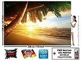 GREAT ART Foto Mural Puesta del Sol Playa- Decoración Caribe Póster Sunset Palm Beach Imagen de Atardecer (336x238cm)