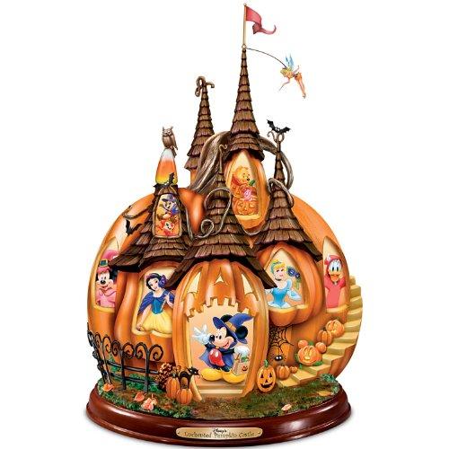 Disney's Enchanted Figura decorativa con iluminación princesas Disney en un castillo de calabaza Halloween de Bradford Exchange