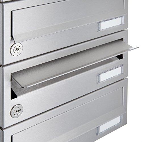 Standbriefkastenanlage aus Edelstahl V2 A geschliffen – Design BASIC 385-VA (3 Parteien) - 4