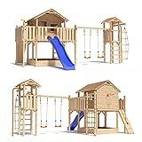 ISIDOR Holzbau FANTASIO Baumhaus Stelzenhaus Spielhaus mit Schaukel Kletterturm Rutsche auf 1,50 m Podesthöhe