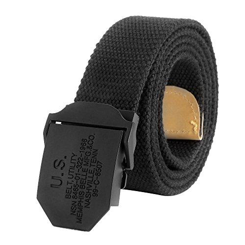 Ayliss® Militär Herren Stoffgürtel Leinwand Canvas Stoff Gürtel Jeansgürtel Belts(Schwarz, 120cm) (Canvas Schnalle Schwarze)