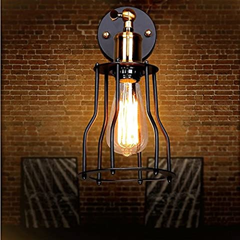 GaoHX Light Nordic Nostalgia Restaurant Hall Porch Light Vintage Wrought Iron Shelf Industrial Wind Wall Lamp