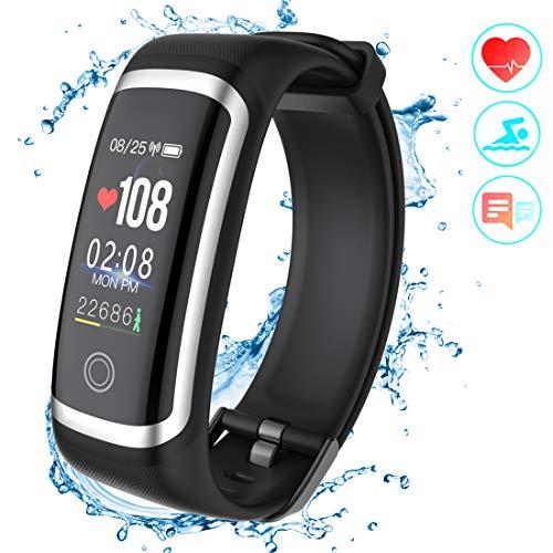 Fitness Armband, Fitness Tracker Aktivitätstracker mit Pulsmesser Schrittzähler Uhr Farbbildschirm Wasserdicht IP67 Anruf SMS SNS Erinnern für Männer Frauen Kinder Kompatibel mit Android IOS