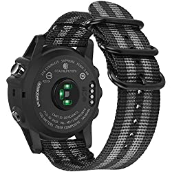 Fintie Correa para Garmin Fenix 3 / Fenix 5X - 26mm Pulsera de Repuesto de Nylon Tejido Banda con Hebilla de Metal para Garmin Fenix 3 / Fenix 3 HR/Fenix 5X Smart Watch Reloj, Rayas Negras y Grises