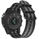 Fintie Armband für Garmin Fenix 3 / Fenix 3 HR/Fenix 5X / Fenix 5X Plus - Nylon atmungsaktive Uhrenarmband Sport Armband verstellbares Ersatzband mit Edelstahlschnallen, Schwarz/Grau