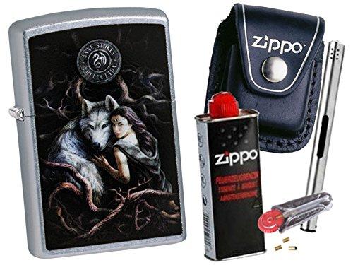 Zippo Anne Stokes Wolf & Girl + Zippo POUCH mit Zippo Zubehör und L.B Chrome Stabfeuerzeug (mit CLIP Black Pouch) (Black Chrome Zippo)