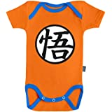 Tenue de Goku - Dragon Ball Super - Body Bébé Manches Courtes - Coton Orange - Couture Bleue - Licence Officielle