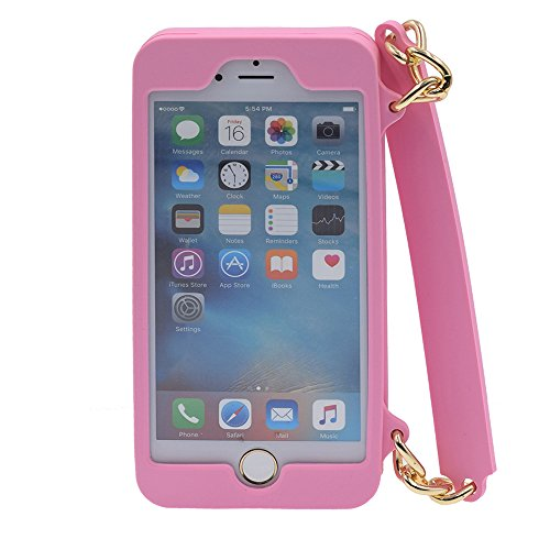 iPhone 6/6S 4.7 Hülle, BENKER Multifunktions-Upscale Stoßdämpfend Silikon TPU Geldbörse Telefon Fall Schutzhülle Für und Ketten Schulterriemen - Schwarz Rosa