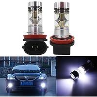 FEZZ LED Bombillas de Coche Auto LED H11/H8 100W Sharp 20SMD Lamparas Iluminación Para faros antiniebla DRL 6500K Blanco Frío (Paquete de 2)