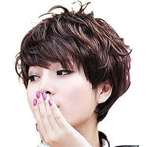 HSG nouvelles femmes court bouclés brun foncé élégantes perruque courte moelleux perruques de cheveux dame incliné bang TF284